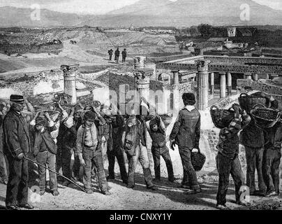 Excavations at Pompeii, Italy, in 1897, historic wood engraving, about 1897 - Stock Photo