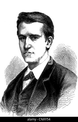 Thomas Alva Edison, 1847 - 1931, an US-American inventor and entrepreneur, historic wood engraving, about 1888 - Stock Photo