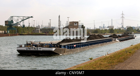 cargo ship transporting coal on the Wesel-Datteln Canal at the coal harbour Auguste Victoria, Germany, North Rhine - Stock Photo