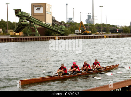 oarsmen at the coal harbour Auguste Victoria at the Wesel-Datteln Canal, Germany, North Rhine-Westphalia, Ruhr Area, - Stock Photo