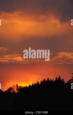 sunset in Bavarian Forest, Germany, Bavaria, Bavarian Forest National Park - Stock Photo