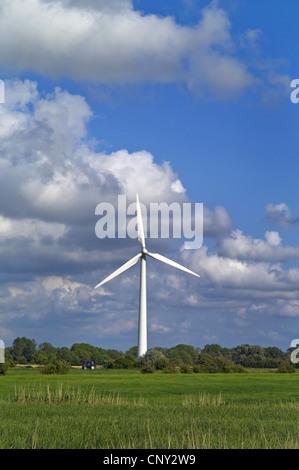 single wind wheel near Dorum, Germany, Lower Saxony - Stock Photo