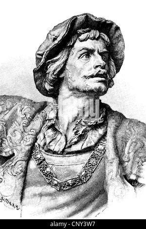Ulrich von Hutten, 1488 - 1523, humanist, regarded the first Free Imperial Knight of the Holy Roman Empire, historical - Stock Photo