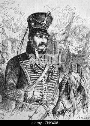 Ferdinand Baptista von Schill (1776-1809) was a Prussian officer, who was known as the Freikorps leader in the wars - Stock Photo