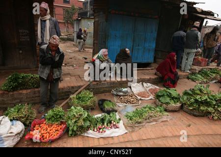 Street vegetable market in Bhaktapur, Nepal. - Stock Photo