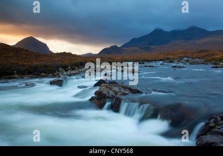River Sligachan with Marsco/Red Cuillin in background., United Kingdom, Scotland, Isle of Skye - Stock Photo