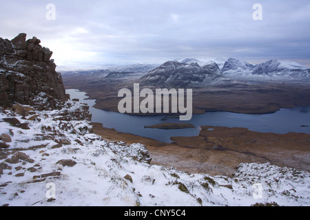 View from Stac Pollaidh over Loch Lurgainn towards Ben Mor Coigach, United Kingdom, Scotland, Scottish Highlands - Stock Photo
