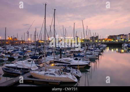 Yachts moored at Ocean Village Marina, Southampton, Hampshire, England - Stock Photo