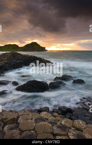 Sunset at Giants Causeway on the County Antrim coast, Northern Ireland - Stock Photo