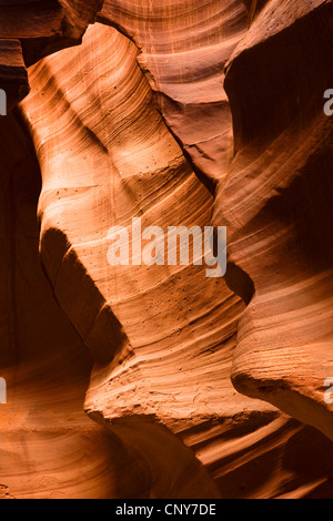 sandstone formations in Upper Antelope Canyon, USA, Arizona, Upper Antelope Canyon, Navajo Nation Reservation - Stock Photo