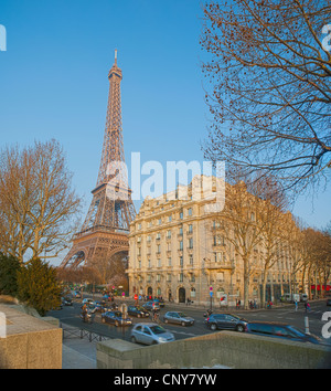 Quai Branly and Eiffel Tower from Promenade by the Seine River - Stock Photo