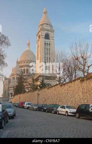 Sacré-Cœur Basilica located in the Butte de Montmartre neighborhood - Stock Photo