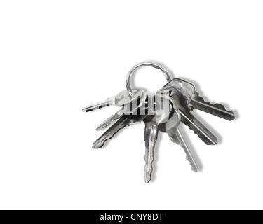 Studio shot of a Group of Keys on ring - Stock Photo