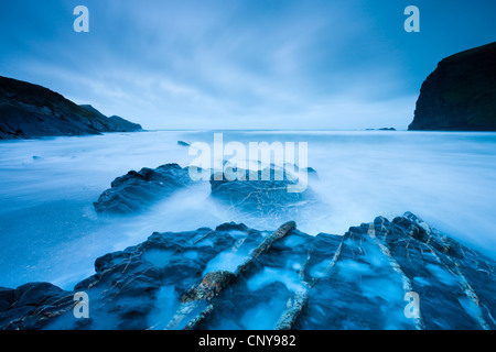 Long exposure at twilight on Crackington Haven beach on North Cornwall, England. March 2009 - Stock Photo