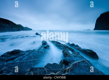 Rugged shores of Crackington Haven, a cove in North Cornwall, England. Winter (March) 2009 - Stock Photo