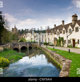 Picturesque Cotswolds village of Castle Combe, Wiltshire, England. Spring (April) 2009 - Stock Photo
