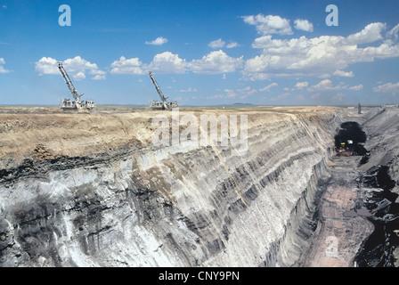 Coal surface mine, coal stratus, overburden. - Stock Photo