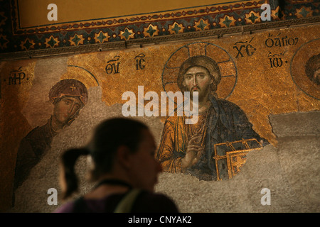 Byzantine Deesis mosaic on the upper galleries of Hagia Sophia in Istanbul, Turkey. - Stock Photo