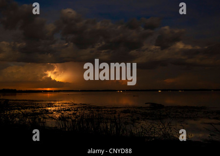 nightly thunderstorm over the Chiemsee, Germany, Bavaria, Lake Chiemsee - Stock Photo