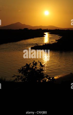 sunset over river landscape, Honduras, La Mosquitia, Las Marias, Gracias a Dios - Stock Photo