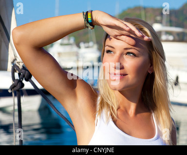 Beautiful teen girl sailing, young woman enjoying summer travel, close-up portrait on happy smiling female face, - Stock Photo