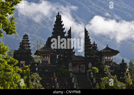 Pura Besakih temple on the slope of sacred volcano Gunung Agung, Indonesia, Bali - Stock Photo