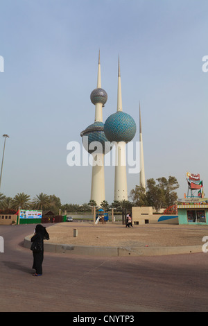 Kuwait City Water Towers. An iconic landmark of the city lying just off the Gulf Road. - Stock Photo