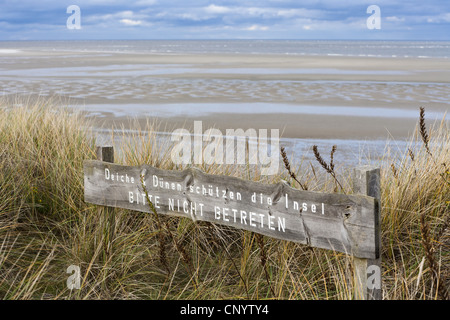 view from dunes to sandy beach, Germany, Lower Saxony, East Frisia, Spiekeroog - Stock Photo