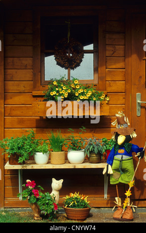 pot herbs at a garden house, Germany - Stock Photo