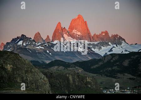 Monte Fitz Roy at sunrise, Argentina, Los Glaciares National Park - Stock Photo