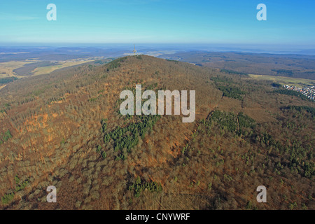 Duensberg with television tower, Germany, Hesse - Stock Photo