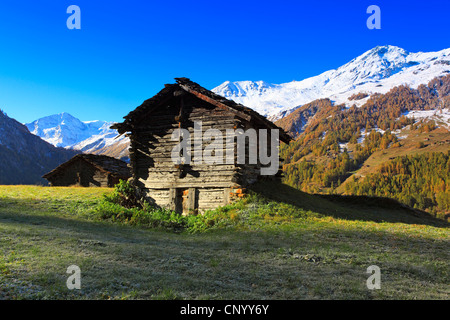 log cabins in a meadow at the Val d�H�rens, Switzerland, Valais - Stock Photo