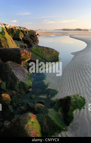 lake behind wave-breakers, Germany, Helgoland Duene - Stock Photo