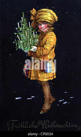 Christmas, greetings cards, young girl carrying Christmas tree and presents, postcard, circa 1910, Additional-Rights - Stock Photo