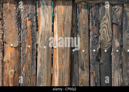 Close up photo of retro weathered wooden fence - Stock Photo