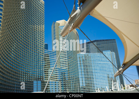 View from tram station at City Center Las Vegas Skyscrapers - Modern Architecture - Stock Photo