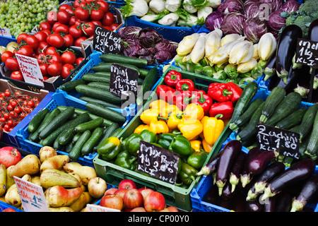 fruit and vegetable market on the Naschmarkt in Vienna, Austria, Vienna - Stock Photo