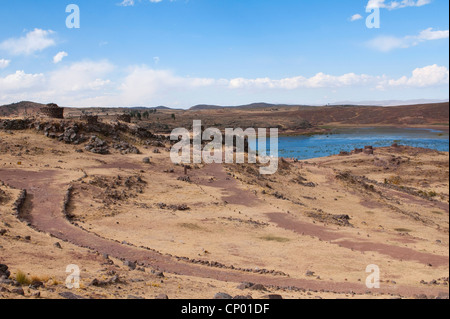 Inca ruins of Chullpas de Sillustani, Peru, Puno - Stock Photo