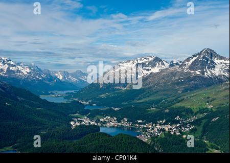 Views of St. Moritz from a top Muottas Muragl, Switzerland, Grisons, St. Moritz - Stock Photo