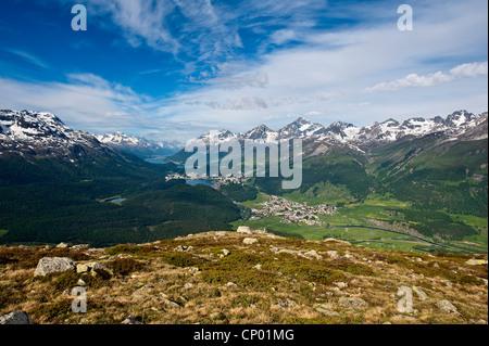 Views of Celerina and St. Moritz from a top Muottas Muragl, Switzerland, Grisons, St. Moritz - Stock Photo