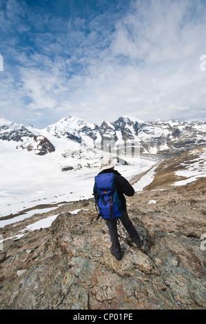 alpinist on Diavolezza Peak looking to Piz Palue, Bellavista, Piz Bernina and Piz Morteratsch, Switzerland