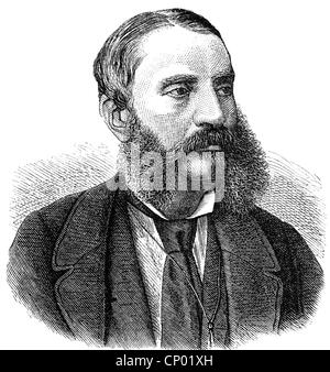 Dingelstedt, Franz Freiherr von, 30.6.1814 - 15.5.1881, German author / writer, theatre manager, portrait, wood - Stock Photo