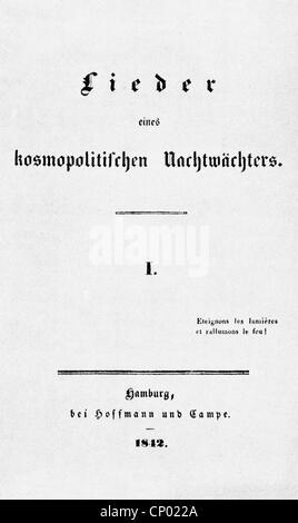 Dingelstedt, Franz Freiherr von, 30.6.1814 - 15.5.1881, German author / writer, theatre manager, title of his 'Lieder' - Stock Photo