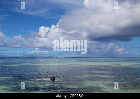 Woman snorkeling at Anse Source D'Argent on La Digue in the Seychelles - Stock Photo