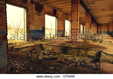 Devastated assembly plant (former Red Army garrison town) - Stock Photo