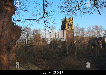 St Mary's Church from Lymm Dam, Lymm, Cheshire, England - Stock Photo