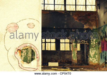 Industry hall (former Red Army garrison town) - Stock Photo