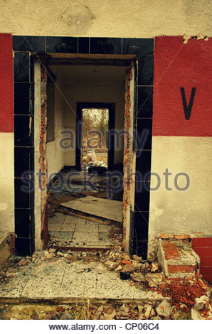 Empty derelict building (former Red Army garrison town) - Stock Photo