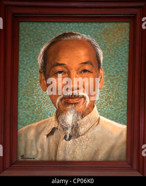 Ho Chi Minh Painting Old General Post Office, Buu Dien Trung Tam, Inside Saigon Vietnam - Stock Photo