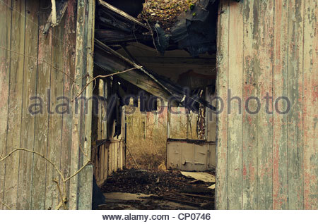 Remains of a ruined house (former Red Army garrison town) - Stock Photo